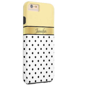 Your Name Lemon Yellow/Gold White Black Polka Dots Tough iPhone 6 Plus Case