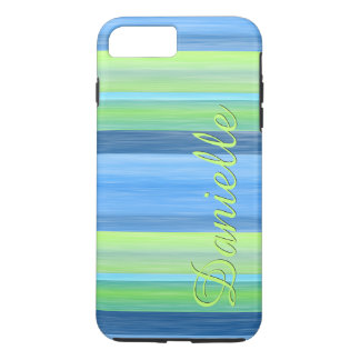 Your Name Lime Green Turquoise Watercolor Stripes iPhone 7 Plus Case