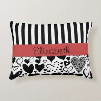 Your Name - Love, Hearts, Stripes - Black Red Accent Pillow