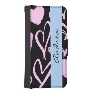Your Name - Love, Romance, Hearts - Black Pink Phone Wallets