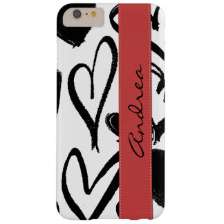 Your Name - Love, Romance, Hearts - Black Red Barely There iPhone 6 Plus Case