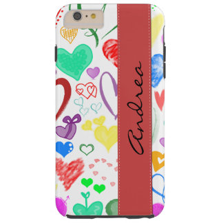 Your Name - Love, Romance, Hearts - Red Blue Pink Tough iPhone 6 Plus Case