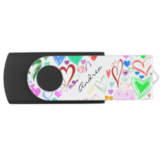 Your Name - Love, Romance, Hearts - Red Blue Pink Swivel USB 3.0 Flash Drive