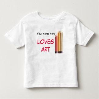 Your name, loves art toddler t-shirt