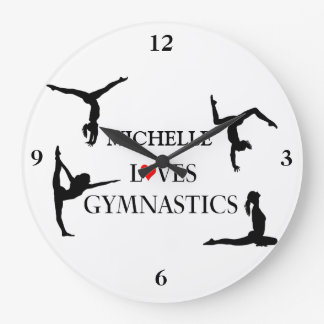 """""""YOUR NAME"""" Loves Gymnastics Large Clock"""