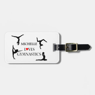 """""""YOUR NAME"""" Loves Gymnastics Luggage Tag"""