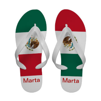Your Name MEXICAN FLAG SANDALS - Women White
