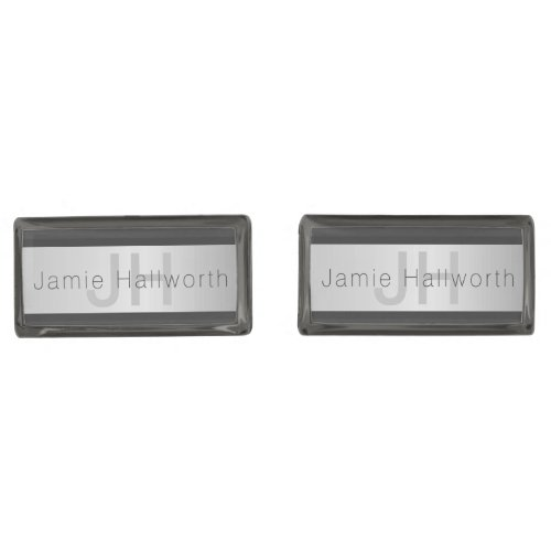 Your Name  Monogram  Greys  Faux Silver Look Cufflinks