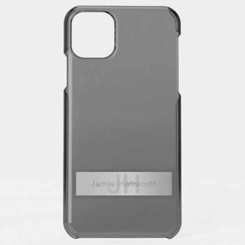 Your Name & Monogram | Greys & Faux Silver Look Phone Case