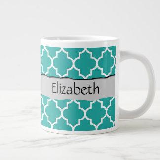 Your Name - Moroccan Trellis, Latticework - Blue Giant Coffee Mug