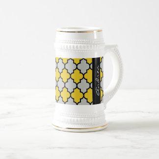 Your Name - Moroccan Trellis, Latticework - Yellow Beer Stein