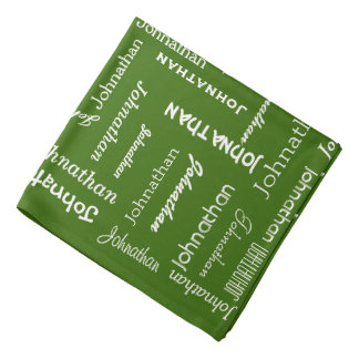 Your Name Multiple Times Personalized Dark Green Bandana