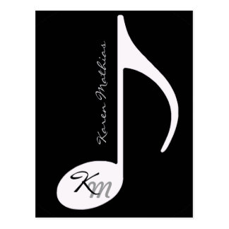 your name music note black postcard