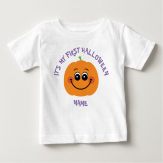 [Your Name] My 1st Halloween Pumpkin Baby T-Shirt