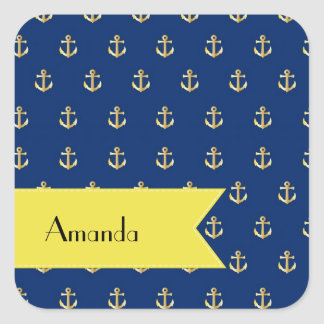 Your Name - Nautical Anchor - Blue Gold Yellow Stickers