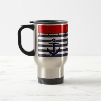 Your Name Nautical Anchor Chic Stripes Pattern 15 Oz Stainless Steel Travel Mug