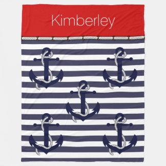 Your Name Nautical Anchor Chic Stripes Pattern Fleece Blanket