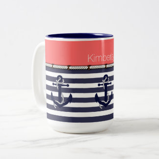 Your Name Nautical Anchor Chic Stripes Pattern Two-Tone Coffee Mug