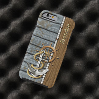 Your Name Nautical Rope Wheel Anchor Wood Pattern Tough iPhone 6 Case