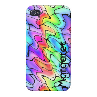 Your Name on a Rainbow of Squiggles Cases For iPhone 4
