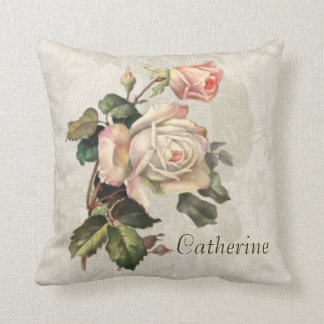 Your Name on a Romantic Rose Throw Pillow