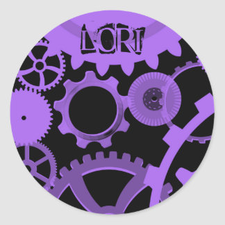 Your name on black and purple gears stickers stickers