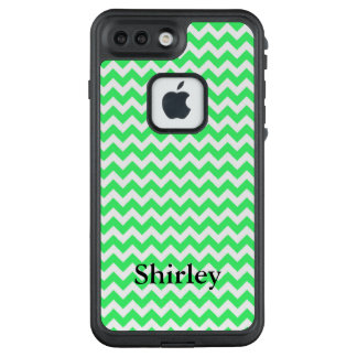 Your Name on Light Green Chevron LifeProof FRĒ iPhone 7 Plus Case