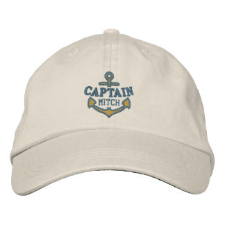Your Name on Nautical Anchor Embroidery Captain Cap