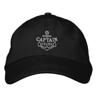Your Name on Nautical Anchor Embroidery Captain Embroidered Baseball Cap