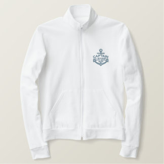 Your Name on Nautical Anchor Embroidery Captain Embroidered Jacket