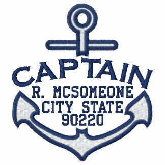 Your Name on Nautical Anchor Embroidery Captain Embroidered Shirts