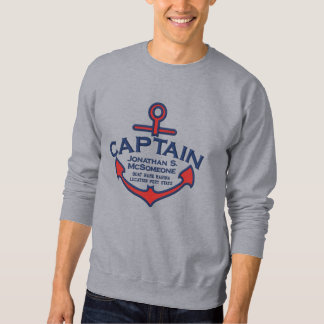 Your Name on Nautical Anchor Embroidery Captain Embroidered Sweatshirt