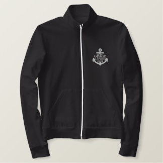 Your Name on Nautical Anchor Embroidery CREW Embroidered Jacket