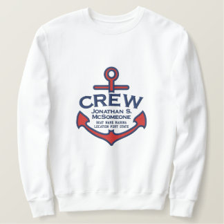 Your Name on Nautical Anchor Embroidery CREW Embroidered Sweatshirt