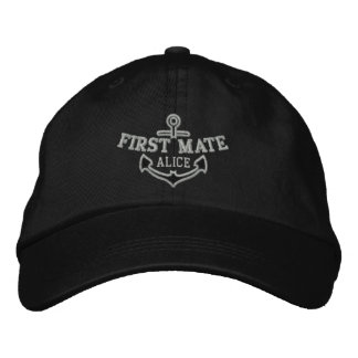 Your Name on Nautical Anchor Embroidery First Mate Baseball Cap