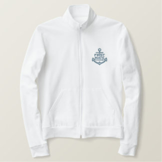 Your Name on Nautical Anchor Embroidery First Mate Embroidered Jacket