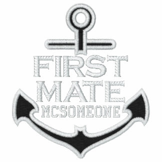 Your Name on Nautical Anchor Embroidery First Mate Polo