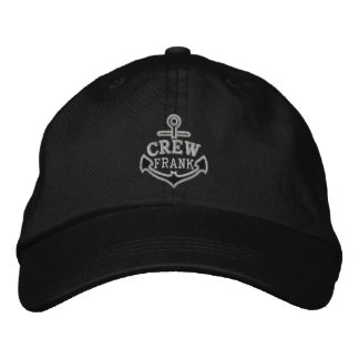 Your Name on Nautical Anchor Embroidery for CREW Embroidered Hat