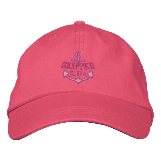 Your Name on Nautical Anchor Embroidery Skipper Baseball Cap