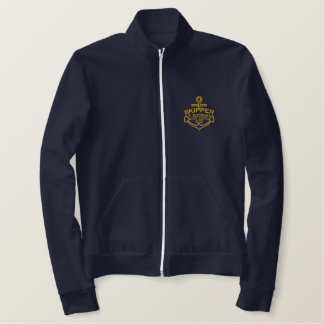 Your Name on Nautical Anchor Embroidery Skipper Embroidered Jacket