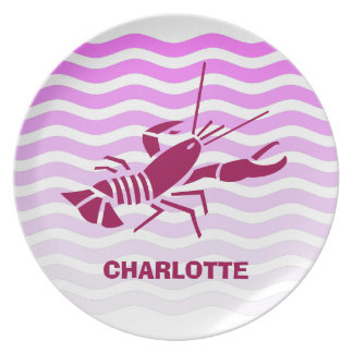 Your name on: Pink shrimps or prawns on pink waves Melamine Plate