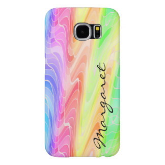 Your Name on Rainbow of Swirling Geometric Shapes Samsung Galaxy S6 Case