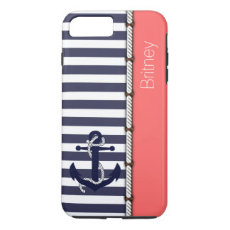 Your Name On Retro Boat Anchor Stripes Pattern iPhone 7 Plus Case