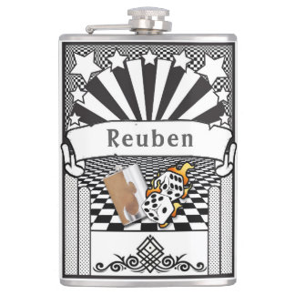 Your Name on the Flaming Dice Flask