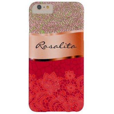 Your name on this beautiful red and metallic barely there iPhone 6 plus case