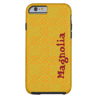 Your name on this Bianca Saffron and Caramel Tough iPhone 6 Case