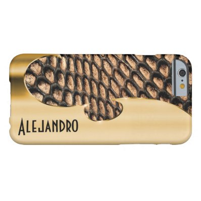 Your name on this faux gold and snakeskin barely there iPhone 6 case