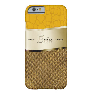 Your name on this faux gold yellow and woven mat barely there iPhone 6 case