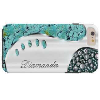 Your name on this faux silver & diamond bling tough iPhone 6 plus case