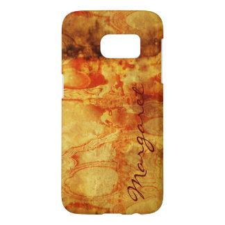 Your Name on Vintage Spilled Red on Gold Samsung Galaxy S7 Case
